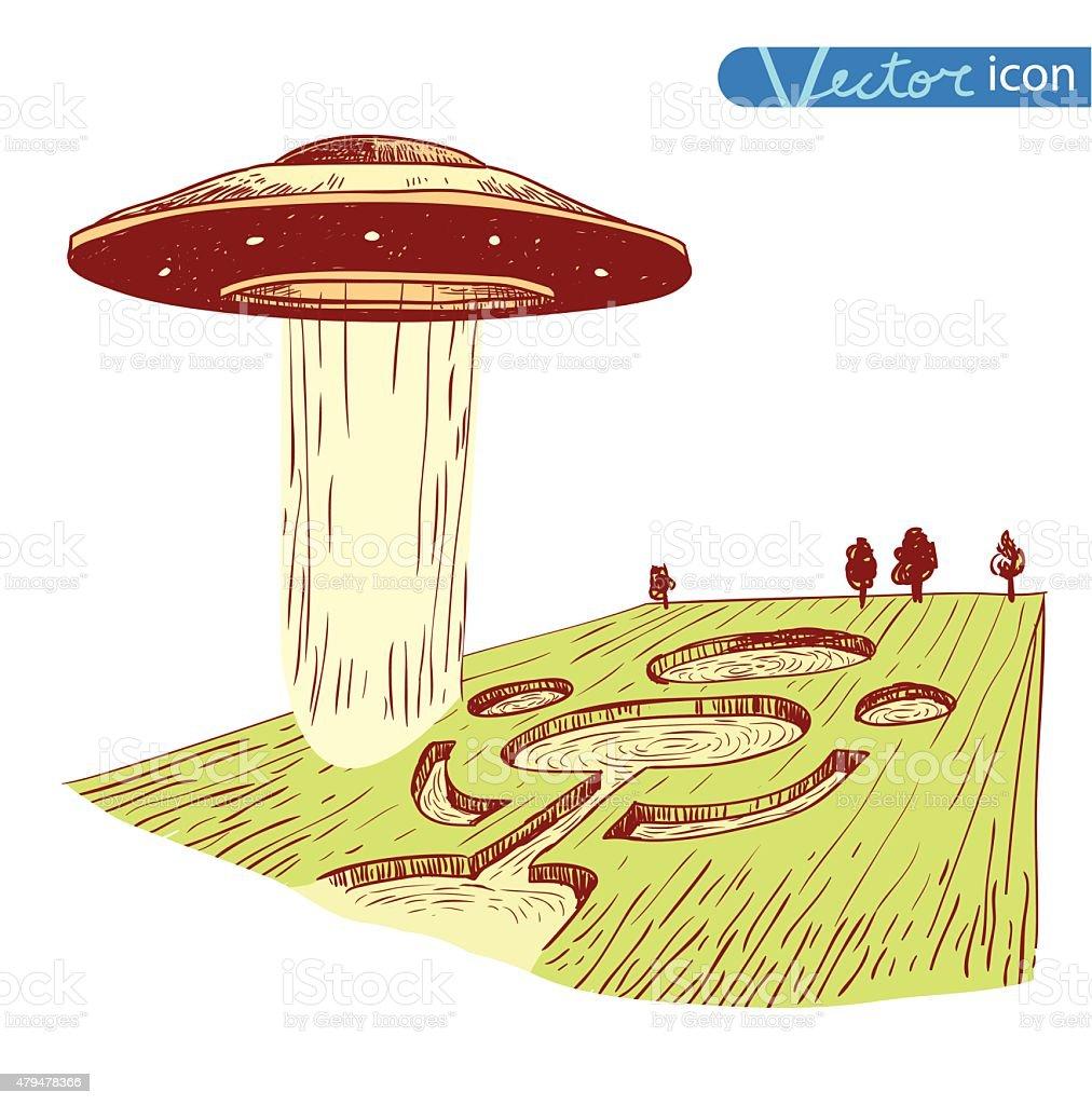 crop circle Ufo icon Pencil drawing sketch. Vector illustration. vector art illustration