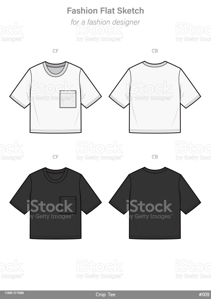 Crop Top Tee Shirt Fashion Flat Technical Drawing Vector Template