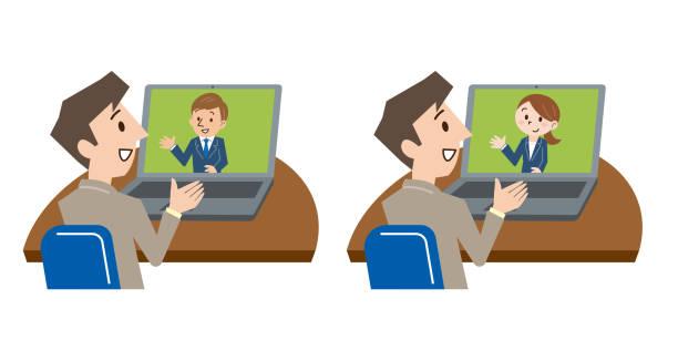 オフィスのデスクでラップトップでビデオ会議の青年実業家の画像をトリミング - テレビ会議 日本人点のイラスト素材/クリップアート素材/マンガ素材/アイコン素材