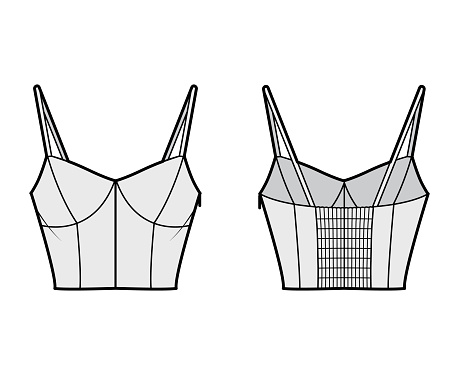 Cropped top technical fashion illustration with sweetheart neck, straps, slim fit, shirred back. Flat outwear tank
