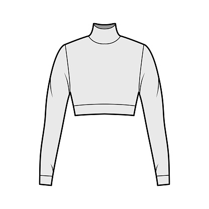 Cropped turtleneck jersey sweater technical fashion illustration with long sleeves, close-fitting shape. Flat