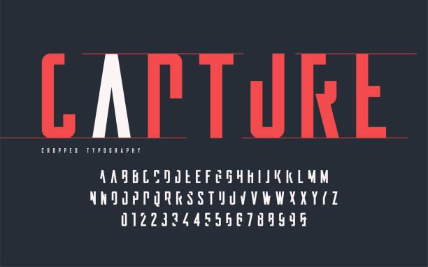 ilustrações de stock, clip art, desenhos animados e ícones de cropped typography, set of uppercase letters and numbers, alphabet. - grosso
