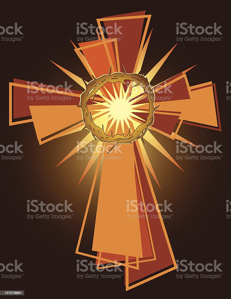 Cross and Crown royalty-free stock vector art