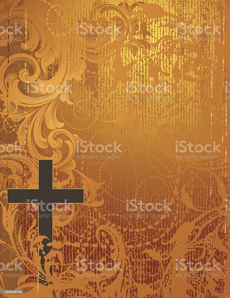 Cross and Golden Scroll royalty-free cross and golden scroll stock vector art & more images of abstract