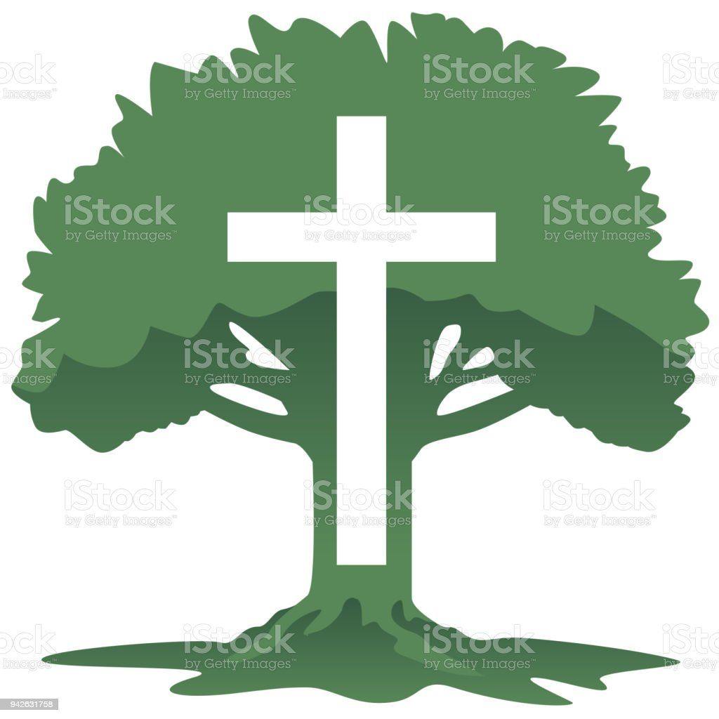 Cross And Tree Christian Religious Symbol Vector Illustration Stock