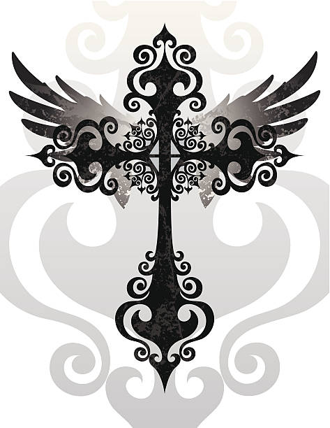 cross und wings - kreuzkette stock-grafiken, -clipart, -cartoons und -symbole