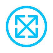 istock cross arrow line in circle for button direction, arrow pointer, arrows in circular strokes blue, arrows button simple graphic, line arrow for ui app, circular arrowhead symbol for icon interface 1257163964
