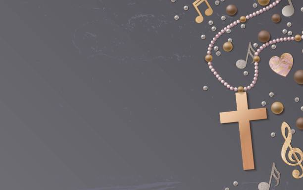 Cross, beads and music notes on shabby background. Cross, beads and music notes on shabby background. Vector illustration gospel choir stock illustrations
