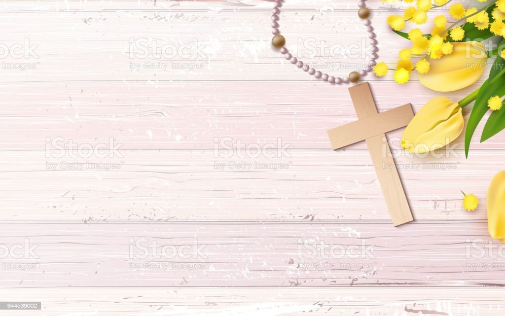 Cross Beads Mimosa Branch And Yellow Tulips On Rustic Wooden Background Royalty