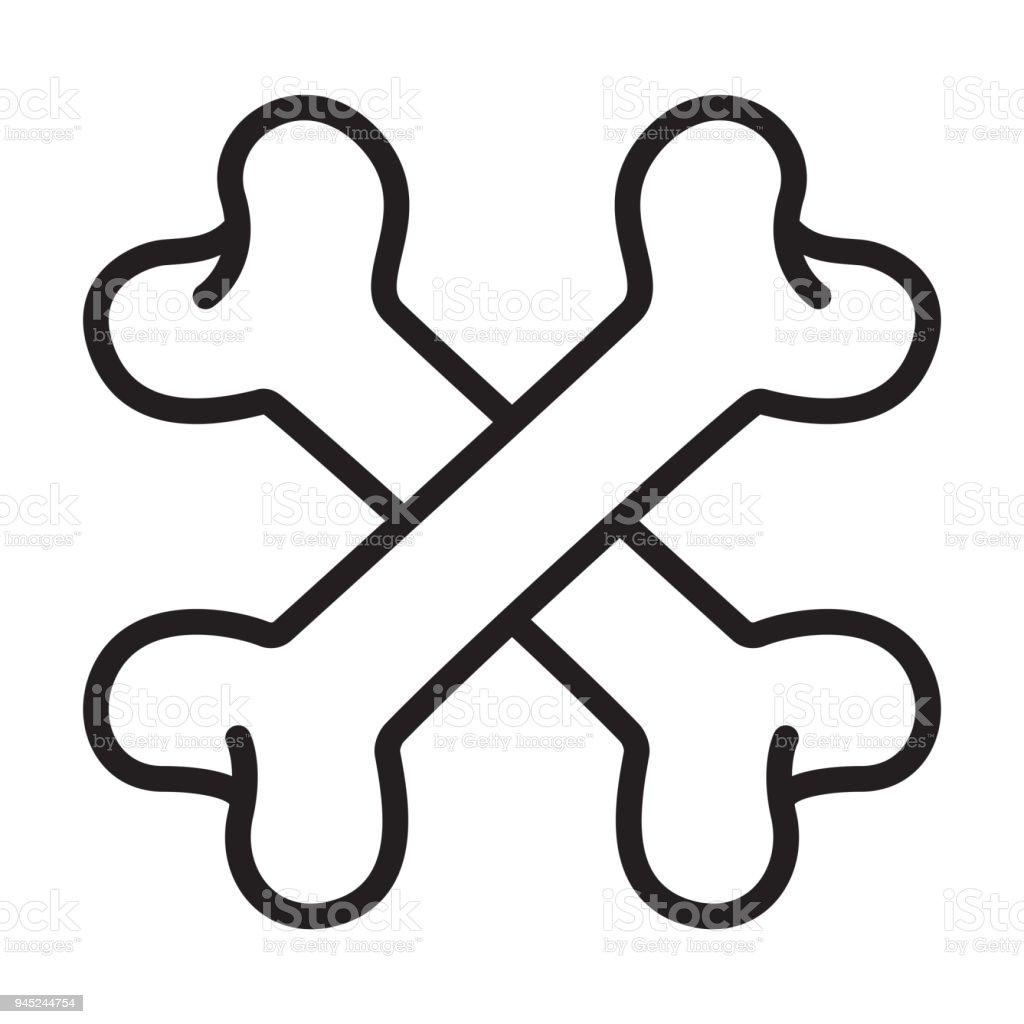 Cross Bone Vector Logo Icon Halloween Illustration Dog Bone Symbol ...