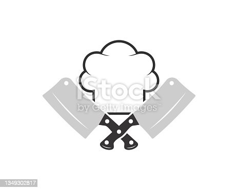 istock Cross butcher knife with chef hat on the top 1349302817