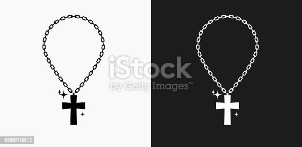 Cross Chain Icon on Black and White Vector Backgrounds. This vector illustration includes two variations of the icon one in black on a light background on the left and another version in white on a dark background positioned on the right. The vector icon is simple yet elegant and can be used in a variety of ways including website or mobile application icon. This royalty free image is 100% vector based and all design elements can be scaled to any size.