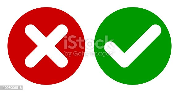 Cross & Check Mark Icons, Flat Round Buttons Set. Vector EPS 10