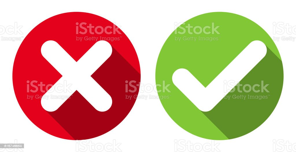 Cross & check mark icons, flat round buttons set. - illustrazione arte vettoriale