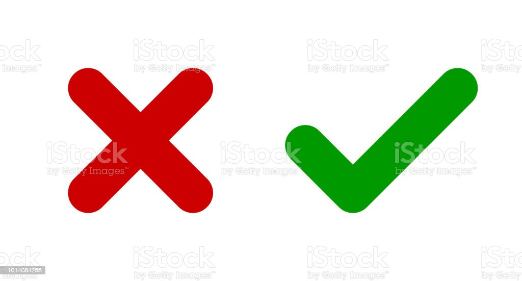 Cross Check Mark Icons X And V Symbols Icon Set Stock Vector Art
