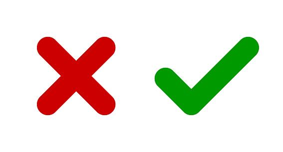Cross & check mark icons. X and V symbols. Icon SET.