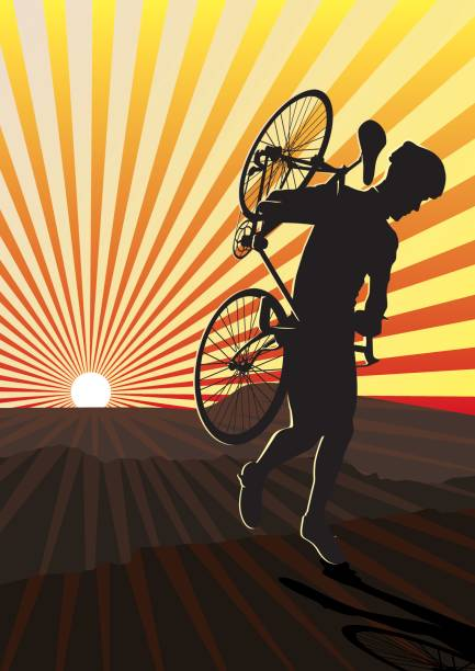 bildbanksillustrationer, clip art samt tecknat material och ikoner med cross country cycling at sunset in the mountains - jogging hill
