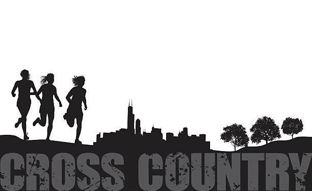 Cross Country Girls Running Track Event Graphic Vector Art Illustration