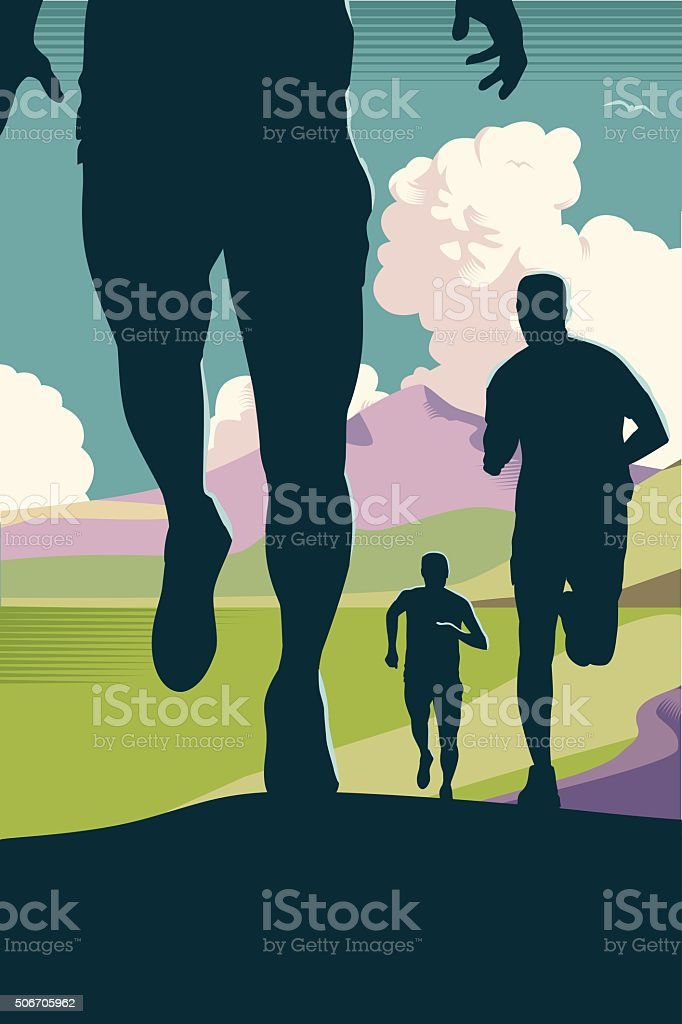 Cross country or Trail Running vector art illustration
