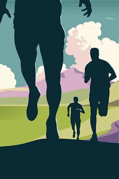 bildbanksillustrationer, clip art samt tecknat material och ikoner med cross country or trail running - jogging hill