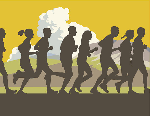 cross country oder trail-running - langstreckenlauf stock-grafiken, -clipart, -cartoons und -symbole