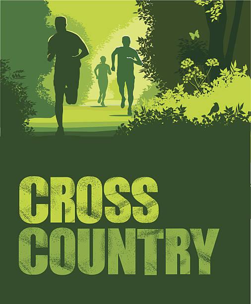 cross country oder trail-running mit text - langstreckenlauf stock-grafiken, -clipart, -cartoons und -symbole