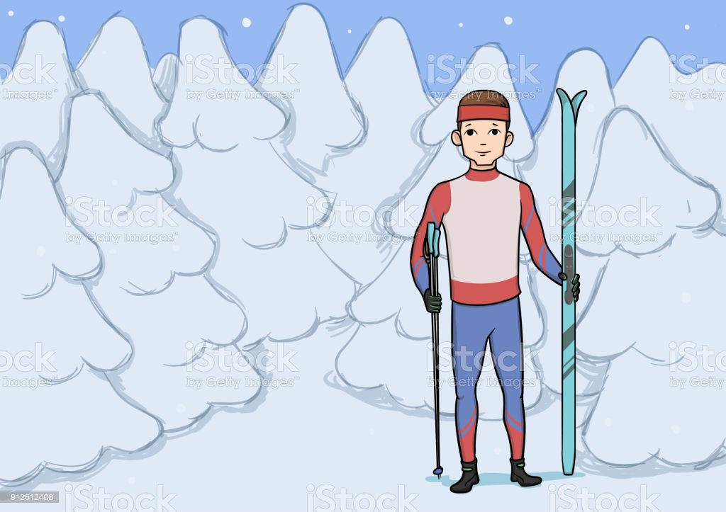 Cross country skiing, winter sport. Young happy man with skis...