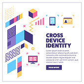 Cross-device identity vector banner illustration also contains icons for the topic.