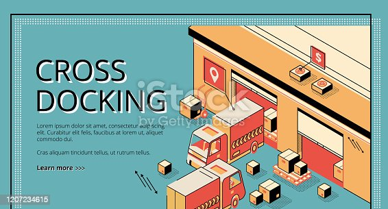 Cross docking logistics. Trucks receiving and shipping goods, warehousing process, cargo transportation. Isometric 3d vector illustration, line art, banner, landing page on retro colored background