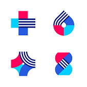 Cross, drop and DNA. Set of abstract medical or pharmacy vector logo mark templates or icons