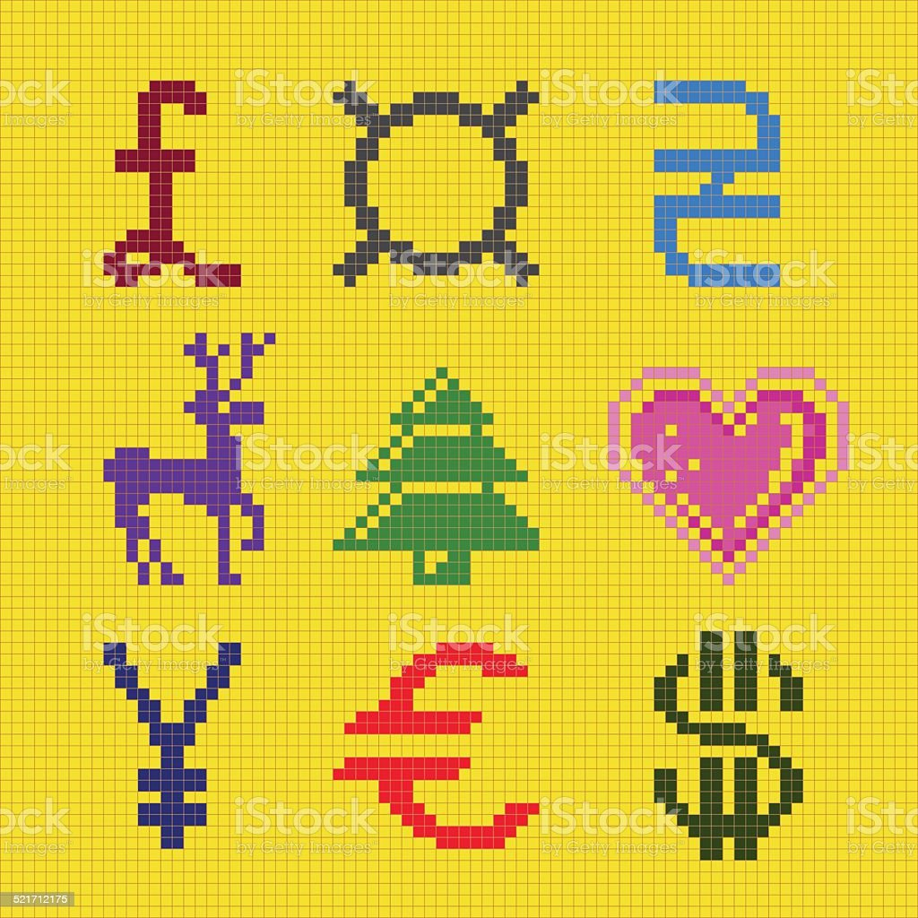 Pixel Art Noel Cadeau.Cross Broderie Pixel Art Monnaie Palette De Noël Vecteurs