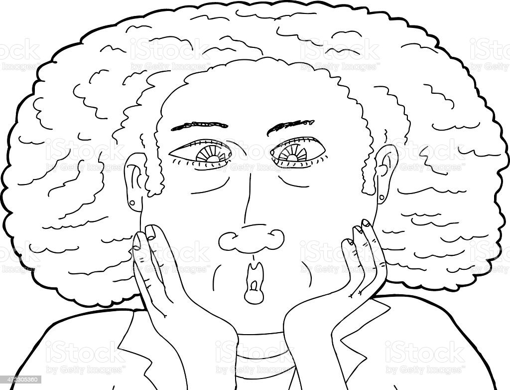 Cross Eyed Middle Aged Lady vector art illustration