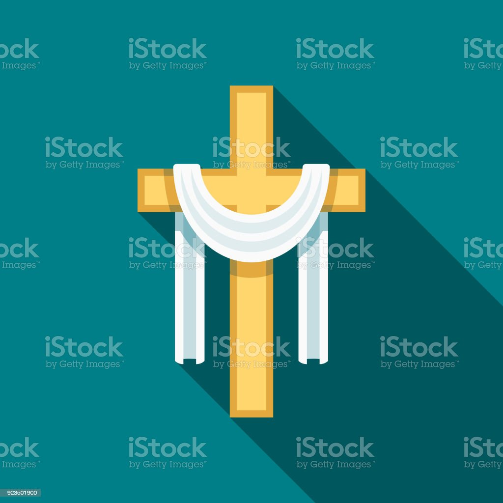 Cross Flat Design Easter Icon with Side Shadow vector art illustration