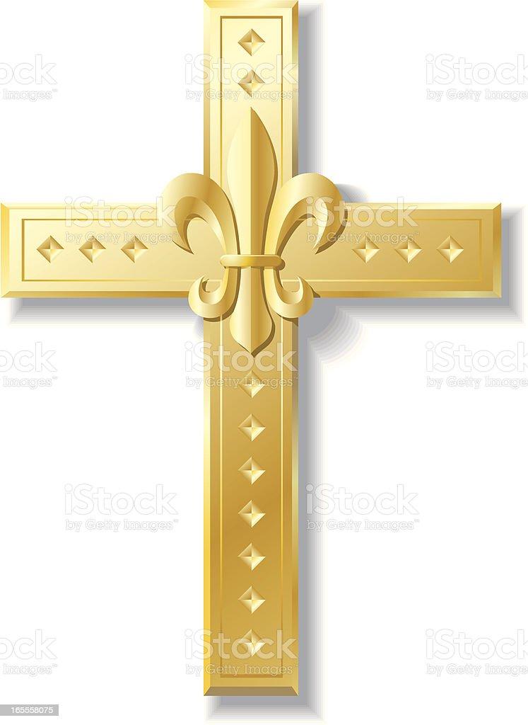 Cross Fleur Di Lis royalty-free stock vector art