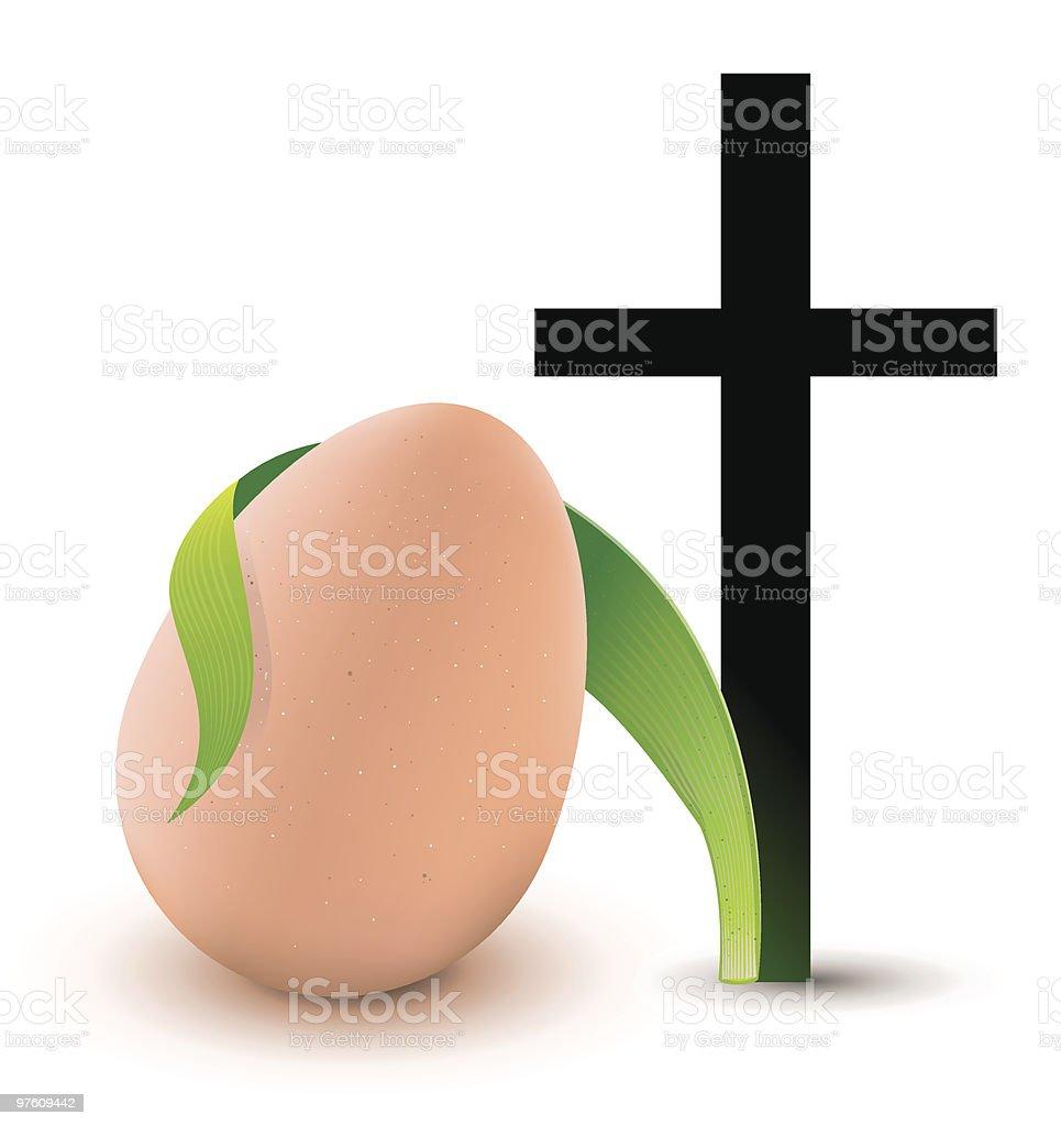Cross, green plant and easter egg. royaltyfri cross green plant and easter egg-vektorgrafik och fler bilder på färgbild