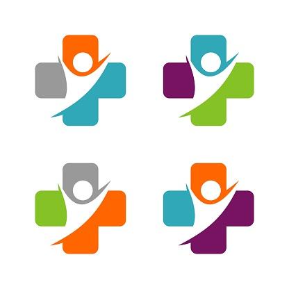 Cross Health care and Human Figure Logo Template Illustration Design. Vector EPS 10.