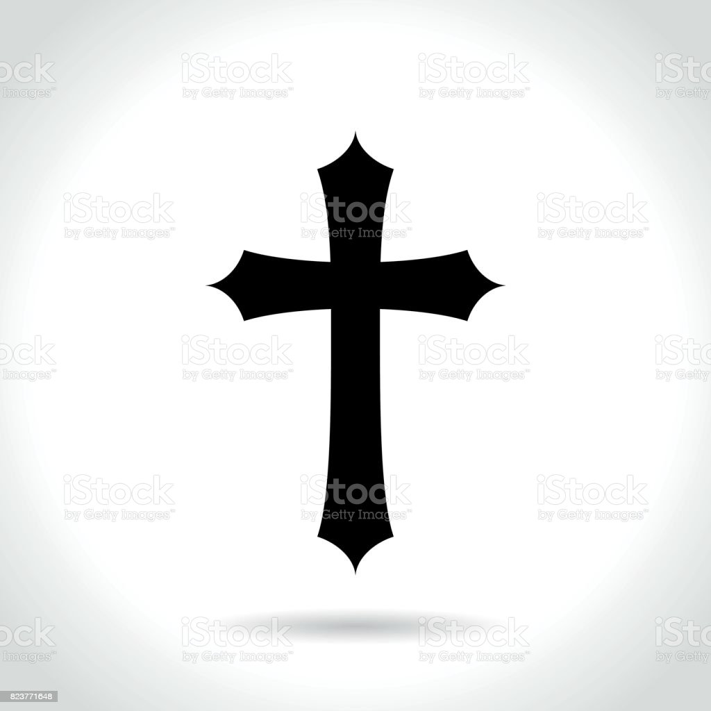 cross icon on white background vector art illustration