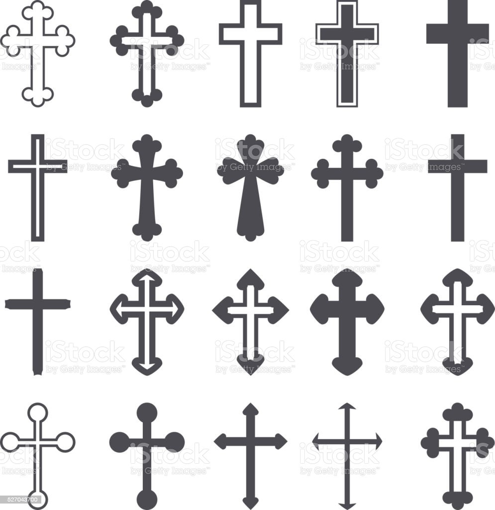 Cross icons set. Decorated crosses signs or symbols. Vector vector art illustration