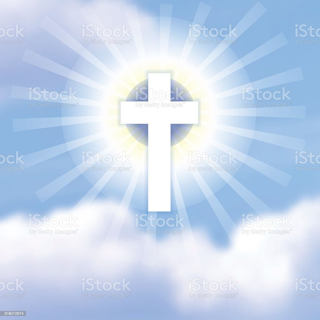 Cross in blue cloudy heaven. The symbol of Christ's resurrection. vector art illustration