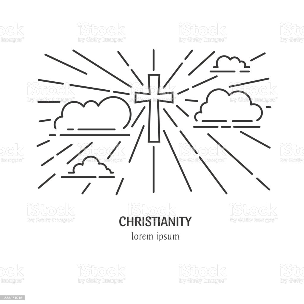 Cross in clouds vector art illustration