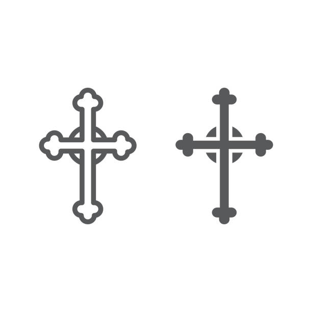 Cross line and glyph icon, church and religion, christian cross sign, vector graphics, a linear pattern on a white background. Cross line and glyph icon, church and religion, christian cross sign, vector graphics, a linear pattern on a white background, eps 10. religious symbol stock illustrations