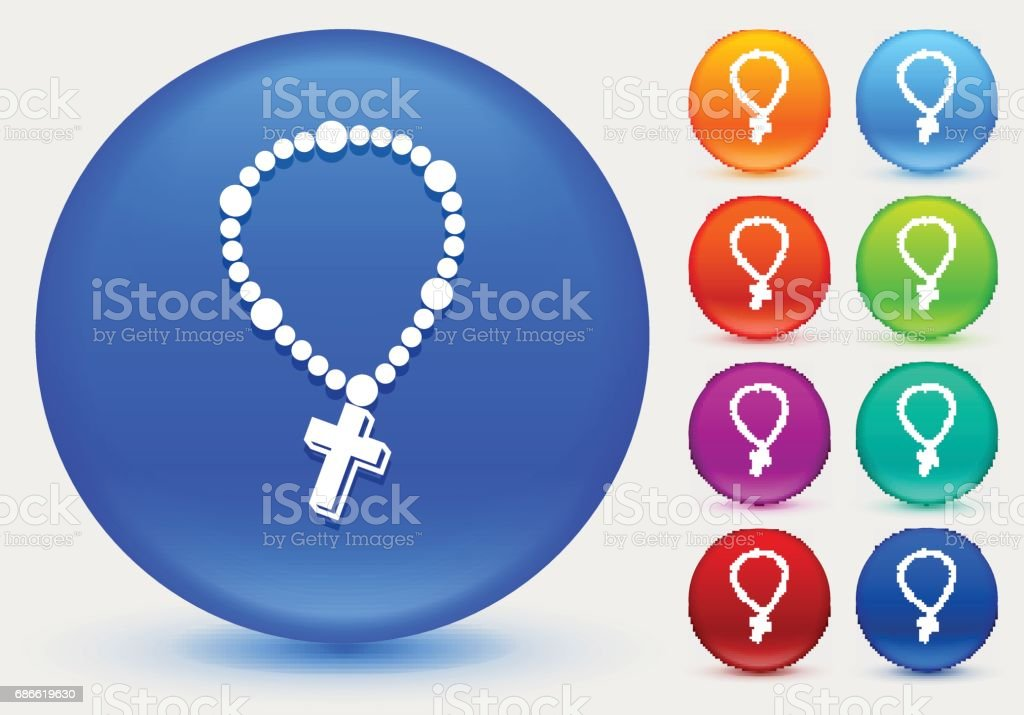 Cross Necklace Icon on Shiny Color Circle Buttons royalty-free cross necklace icon on shiny color circle buttons stock vector art & more images of christianity