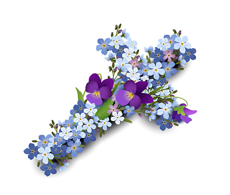Cross of forget-me-not and violet flowers, Communion, confirmation, Easter, or condolence card,  Vector illustration isolated on white background