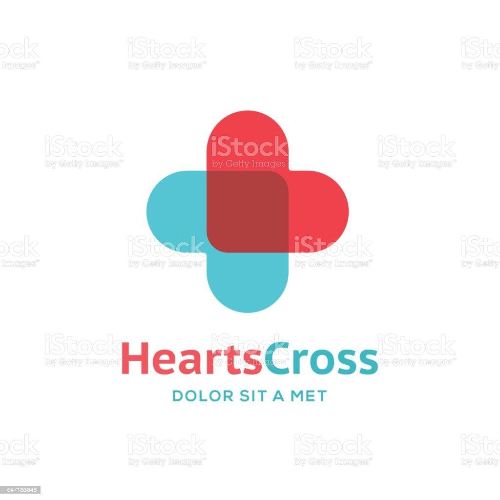 Cross or plus icon with hearts