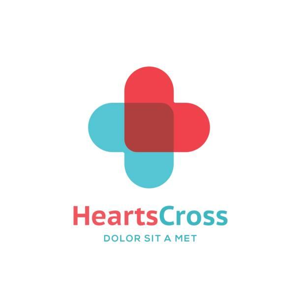 illustrazioni stock, clip art, cartoni animati e icone di tendenza di cross or plus icon with hearts - croce farmacia