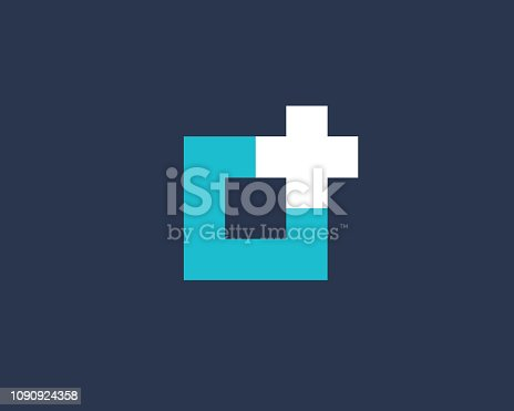 Cross or plus with letter O logo icon design