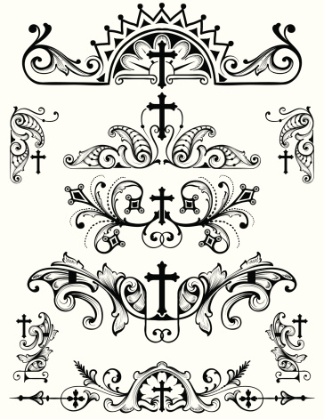 Vector - designed by a hand engraver, this carefully drawn and highly detailed cross scroll set is useful in page corners, as borders, rule lines, or as a symmetrical design. All elements on seperate layers so you can modify as you wish. Includes AI, EPS, and hi-res JPG.