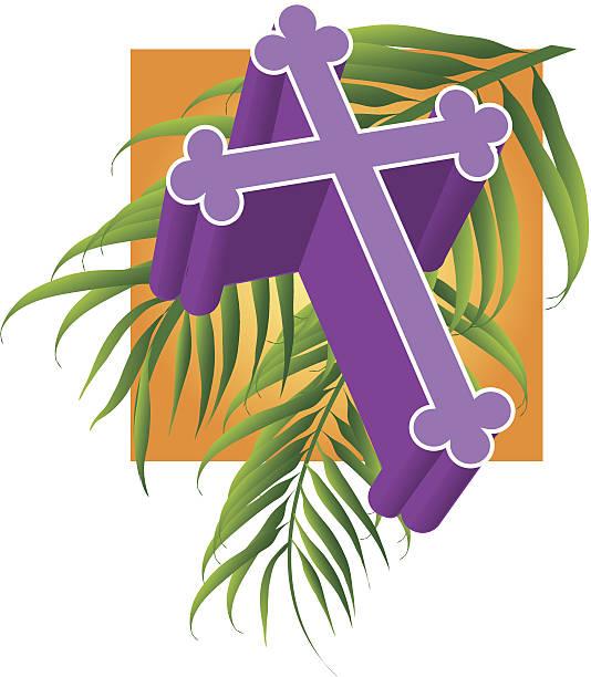 cross palm c - palm sunday stock illustrations, clip art, cartoons, & icons
