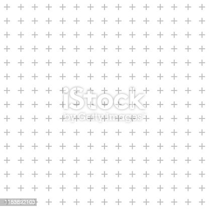 Cross pattern or plus sign seamless on white background.