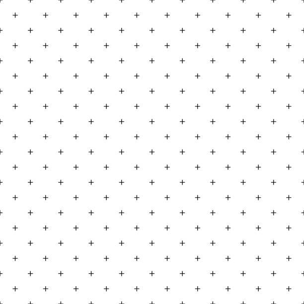 파란색 배경에 패턴 완벽 한 흰색 라인을 교차. 더하기 기호 추상 배경 벡터입니다. - 반복 stock illustrations